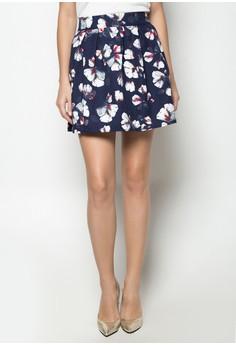 Yuki Navy Textured Floral Box Pleat Skirt