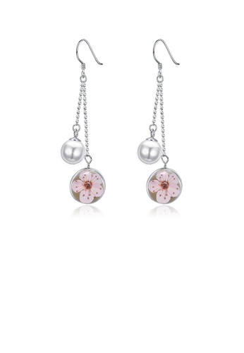 Glamorousky white 925 Sterling Silver Elegant Flower Round Pearl Long Earrings 3B211ACEE87B38GS_1