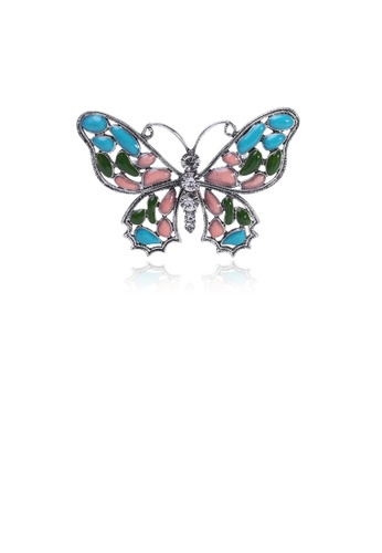 Glamorousky white Fashion Simple Blue Pink Butterfly Brooch with Cubic Zirconia AA377AC5F2B4AFGS_1