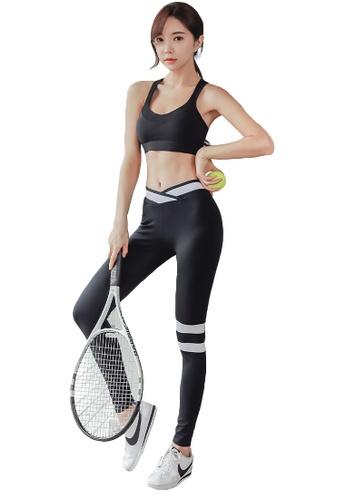 YG Fitness black (2PCS) Quick-Drying Running Fitness Yoga Dance Suit (Bra+Bottoms) 5D9A9USA2CD8E5GS_1