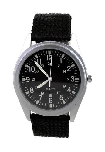 Chronomart black and silver Orkina Mens Case Dial Quartz Canvas Fabric Band Fashion Wrist Watch CH783AC0IRYZPH_1