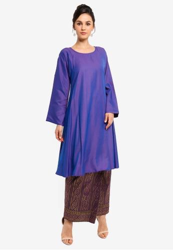 Yans Creation purple Leyla Kurung Pahang Moden Songket 23608AAC668179GS_1