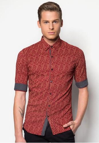 碎花esprit分店短袖襯衫, 服飾, 印花襯衫