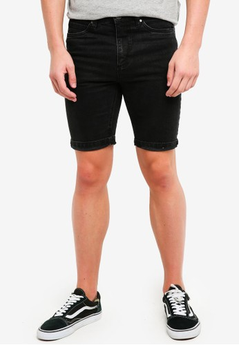 Factorie black Tapered Denim Shorts C37E1AAE1D7E8EGS_1