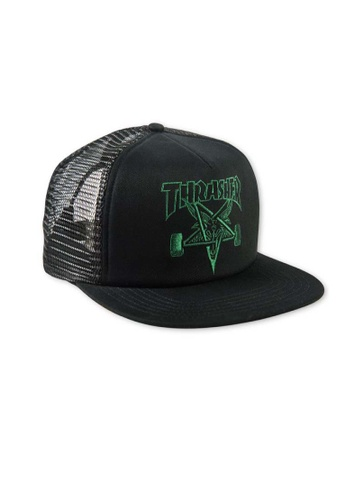 bcffa62c434b Thrasher black Thrasher Embroidered Skategoat Mesh Cap Black Green  F4811ACCC23EEAGS 1