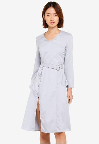 Haute Kelly grey Sung V-Neck Dress With Sash CDB20AA5D25AA5GS_1