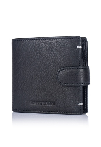 ENZODESIGN black and grey Ultra Soft Cow Leather Snap Closure Coin Compartment Leather Wallet (Flip out I.D.) 43BD6AC04EBC1FGS_1