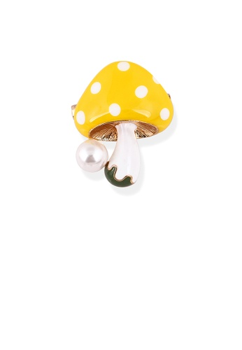 Glamorousky white Fashion and Simple Plated Gold Yellow Mushroom Brooch with Imitation Pearls A1673AC9677E0EGS_1