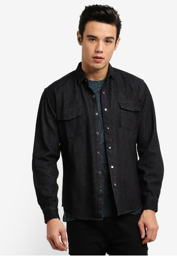 ZALORA black Ripped Elbow Western Denim Shirt 3DD44AA1F1F3C9GS_1