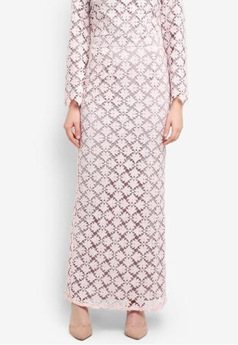Zalia pink Lace Straight Maxi Skirt ED0D4AAEC4AAE8GS_1