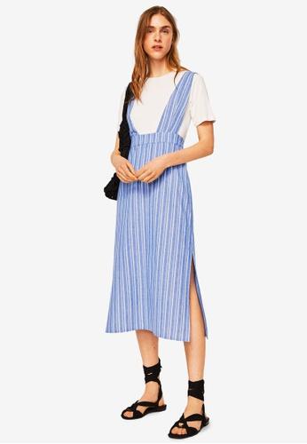 Mango blue Striped Pinafore Dress 7FEB9AA818B973GS_1