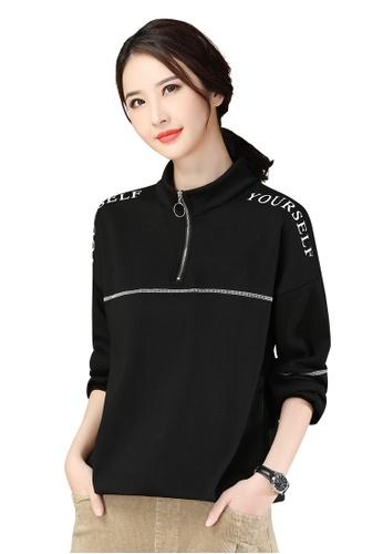 A-IN GIRLS black Black Printed Fleece Sweatshirt T-Shirt 9CAD7AAC5BE8B8GS_1