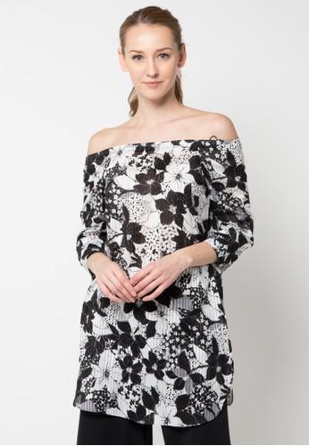 B.L.F black and white Kara Print Dress Top BL612AA41DCGID_1