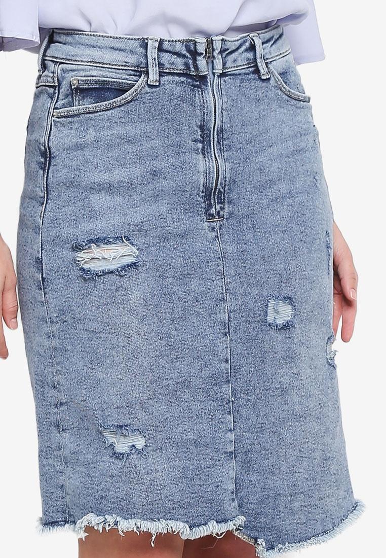 Mini Blue Wash Vintage Light Skirt Denim ESPRIT E7cW4fq0z7