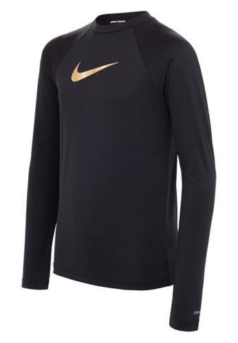 Nike black Nike Swim Girl's Iridescent Swoosh Long Sleeve Hydroguard 1E419USAD38A36GS_1