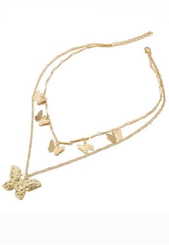 Sunnydaysweety gold Butterfly Charms 2 in 1 Multi-Layer Necklace CA030221 8B848ACA51E84EGS_1