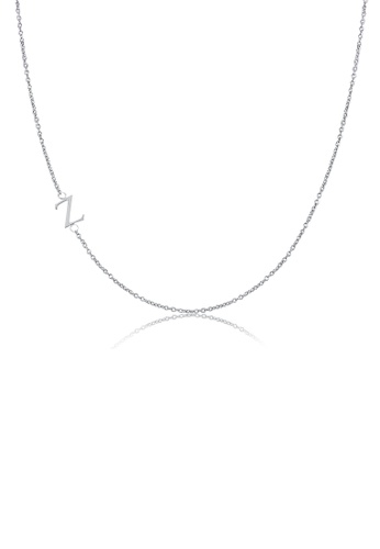 Moody Mood silver .925 Sterling Silver Sideway Letter Z Necklace (18k white gold plating) 76225ACB524D3BGS_1