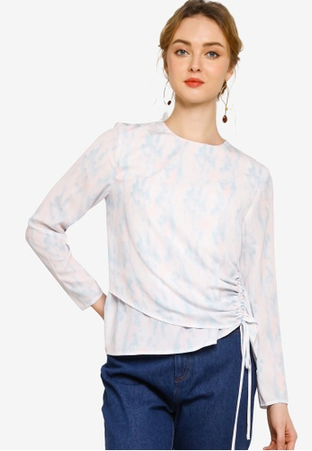 Lubna blue Gathered Details Blouse 31E85AA5973421GS_1