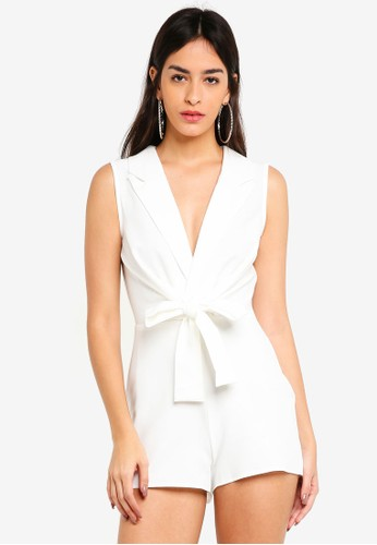 MISSGUIDED white Sleeveless Tie Front Lapel Playsuit 8DECBAAB5C5A20GS_1