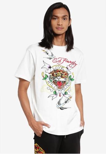 "Ed Hardy white ""Love Kills Slowly"" Rhinestone Embroidered Round Neck Comfy Tee D2883AA277434DGS_1"