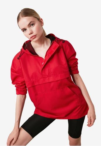 Trendyol red Hooded Sports Windbreaker EFC65AA2FFAE6AGS_1