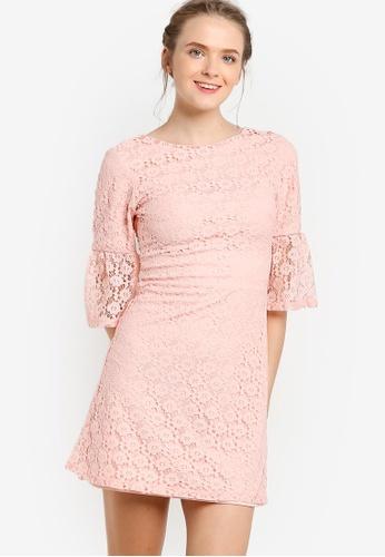 Miss Selfridge pink Pink Lace Flute Sleeve Dress MI665AA85EAOMY_1