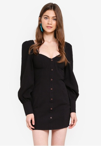 f14a97ed389 INDIKAH black Long Puff Sleeve Faux Button Front Corduroy Dress  898D4AA7426EF3GS 1