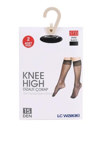 LC WAIKIKI black Semi Shiny Knee Socks 5D1B5AAACF92B1GS_1