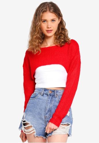 Factorie red Ultra Crop Knit Jumper 0B72CAA6E0C62AGS_1