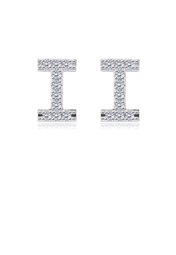 Glamorousky white Simple Fashion Letter I Cubic Zircon Stud Earrings 215F0ACD8FF461GS_1