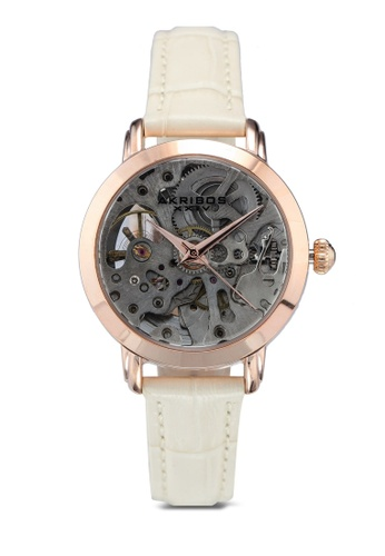 Akribos XXIV 米褐色 鱷魚紋手錶 D2441ACE98D52DGS_1
