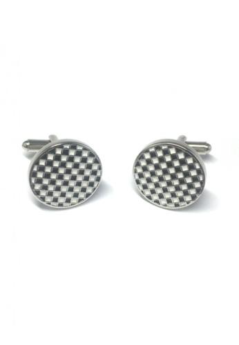 Splice Cufflinks black and white Black and White Checked Design Round Cufflinks SP744AC38FSFSG_1