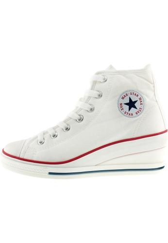 Maxstar 白色 新款韩国鞋7H-Zip時尚帆布布混合女白色 US Women Size MA345SH55HGMTW_1