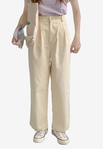 Zafiti beige Women's Korean Style Elastic Waist Straight Loose Pant - Beige 26E64AAD145A61GS_1