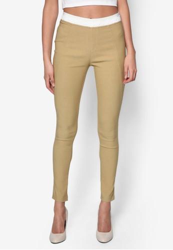彈性拼色蕾絲窄管長褲, esprit台灣官網服飾, 長褲及內搭褲