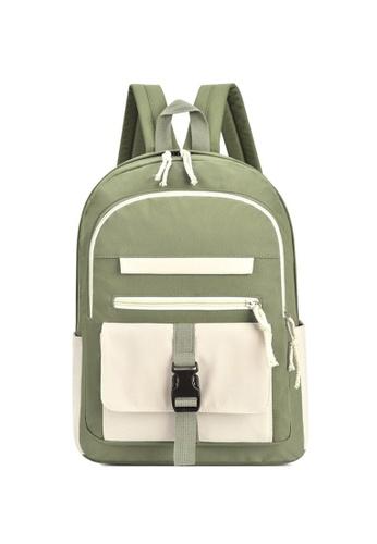 Lara green Young Girls' Leisure Oxford Cloth Zipper Backpack - Green 6B570ACD8EB22CGS_1
