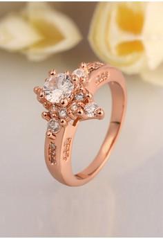 18kRose Gold Plated Bright Diamond Ring (Size 7)
