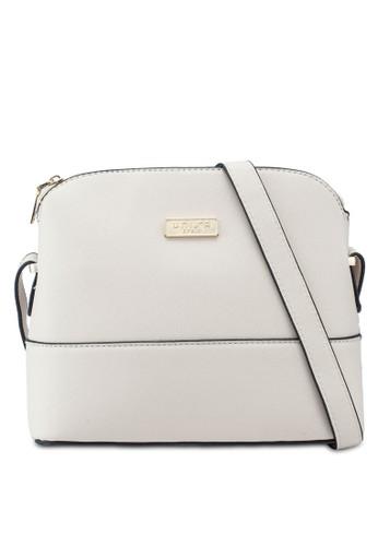 Unisa beige Saffiano Texture Shell Shape Mini Sling Bag A4905ACA4CEA49GS_1