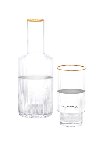 Crysalis n/a Premium Clear Glass Ripple Carafe with Glass  790ml - 26.7oz Set of 2 C87F4HL9D609D2GS_1