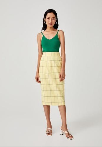 Love, Bonito yellow Vera Midi Pencil Skirt 6A033AA629D355GS_1