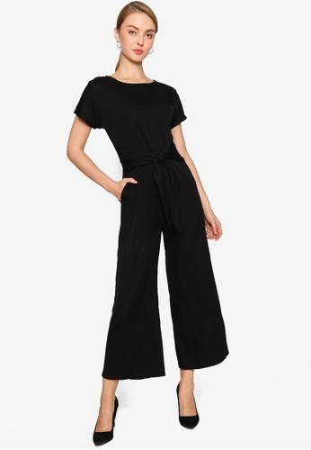 ZALORA WORK black Tie Front Jumpsuit E2681AAD1DB5DFGS_1