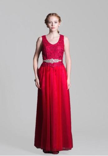 美艷紅蕾絲拼接澎網紗長禮服, 服飾, 服esprit 台北飾