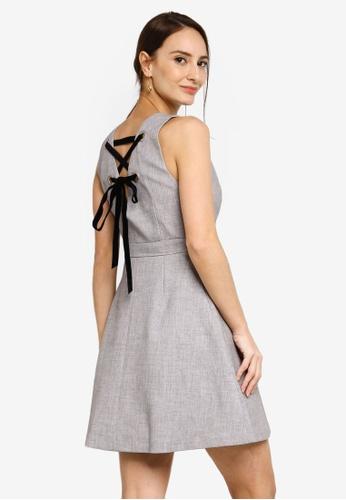 Hopeshow grey V-Neck Sleeveless Mini Dress 038CDAAB352F0BGS_1