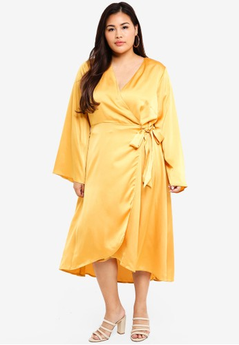 LOST INK PLUS yellow Satin Wrap Dress 53A54AAC2BC91AGS_1