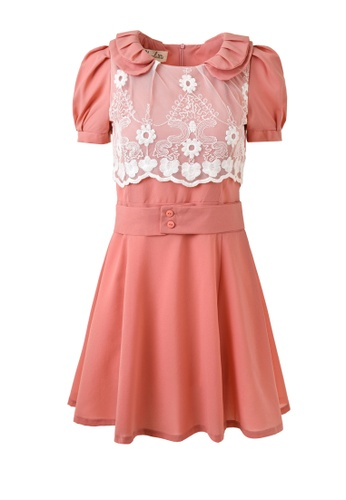 hk-ehunter pink Double collar Short Sleeves ​With Belt Dress CFAC7AA7AB2482GS_1
