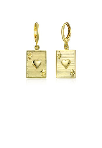 Glamorousky silver Fashion Simple Plated Gold Poker A Earrings 6FB5FAC1409352GS_1