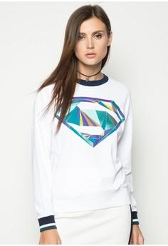Raglan Sleeves Pullover with Print