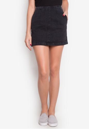 TOPSHOP black MOTO Denim A-Line Skirt TO099AA0IT48PH_1
