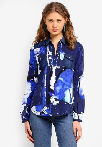 Desigual blue Paint Blouse BCD6EAA644FDCEGS_1