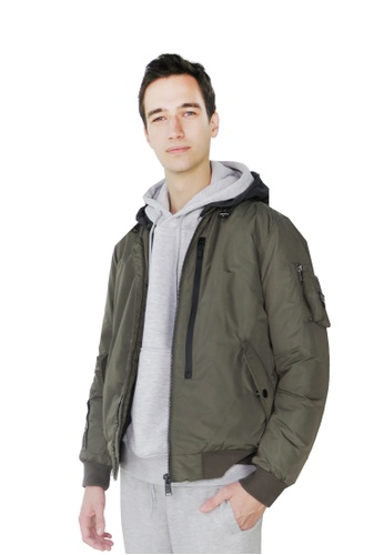 East Pole green Unisex Multi-function Pockets Utility Down Bomber Jacket 93DABAA426A9BBGS_1